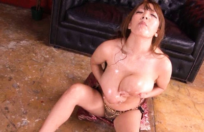 Hitomi Tanaka Lovely Asian doll gets cum on her huge hooters