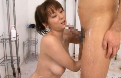 Yuma Asami Hot Asian doll fondles guy in the shower