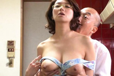 Big titted mature Mio Takahashi Ii glasses sucks dick